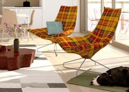designerskie fotele w kratę
